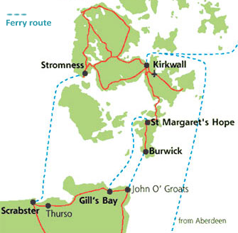 Map showing ferries from mainland Scotland to Orkney