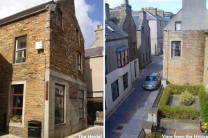 The front of the hostel on the left, the view from the self-catering house on the right