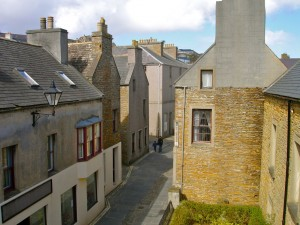 The winding main street through Stromness, Orkney